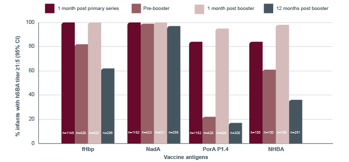 The graph shows the Immune response shown with BEXSERO primary series given at 2, 4, and 6 months of age, and a booster dose given at 12 months of age. For a detailed description of the graph, please contact GSK customer service at 1-800-387-7374.