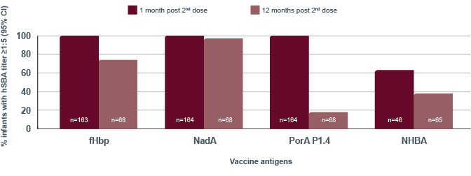 The graph shows the Demonstrated immune response with BEXSERO vaccination at 13 and 15 months of age. For a detailed description of the graph, please contact GSK customer service at 1-800-387-7374.