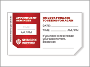 Visual is the SHINGRIX appointment card
