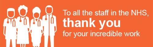 "A thank you message from GSK to NHS reading, ""To all the staff in the NHS, thank you for your incredible work"""